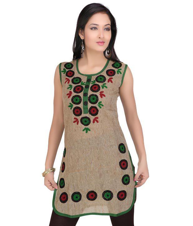 Priyanka's Smart Brown & Green Designer Kurti