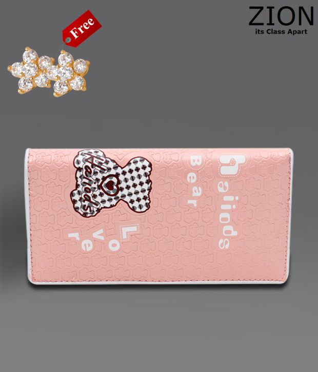Zion Baby Pink Bear Lover Wallet With Free Earrings