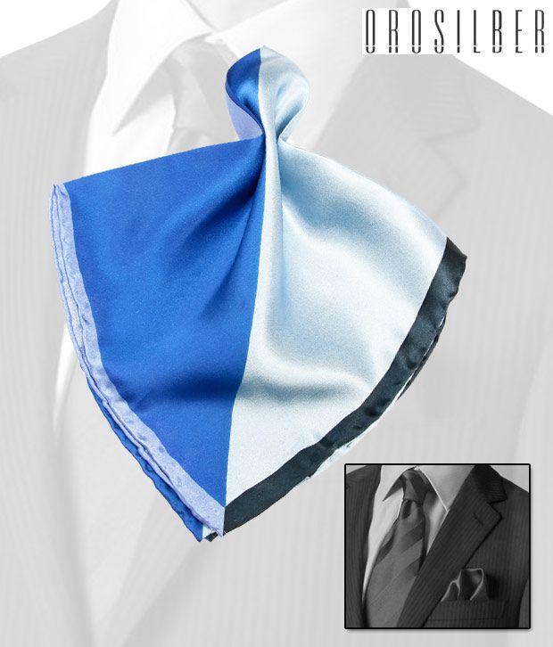 Orosilber Shades Of Blue Regal Silk Pocket Square