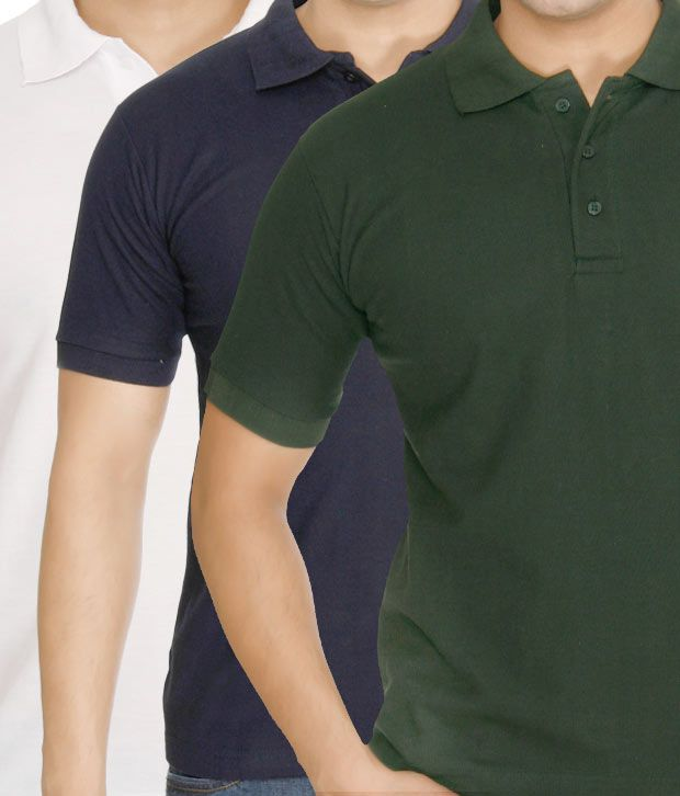 Weardo Green-Blue-White Pack Of 3 Polo T-Shirts