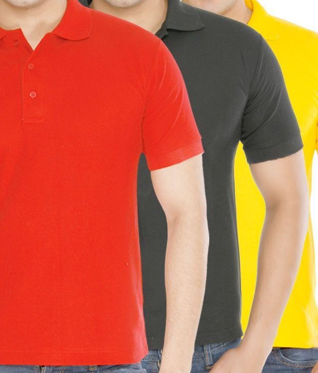 Weardo Red-Yellow-Black Pack Of 3 Polo T-Shirts