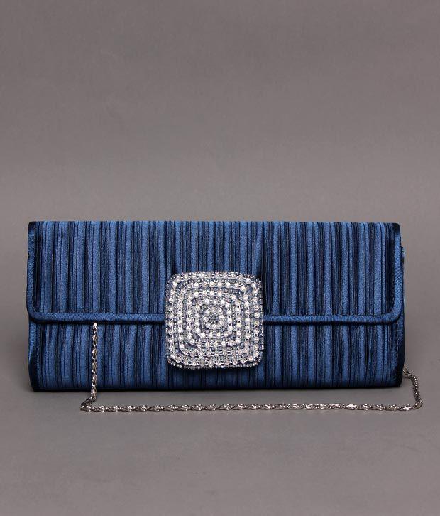 Bolso Metallic Blue Stone Studded Clutch