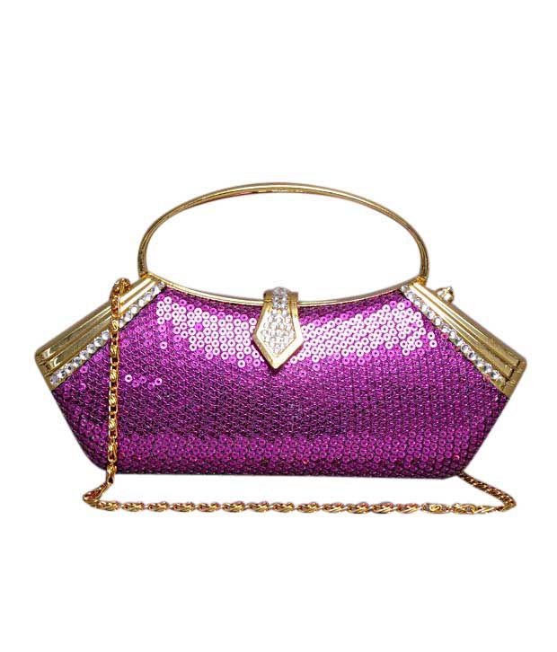 Bolso Purple & Golden Sequins Crystal Clutch