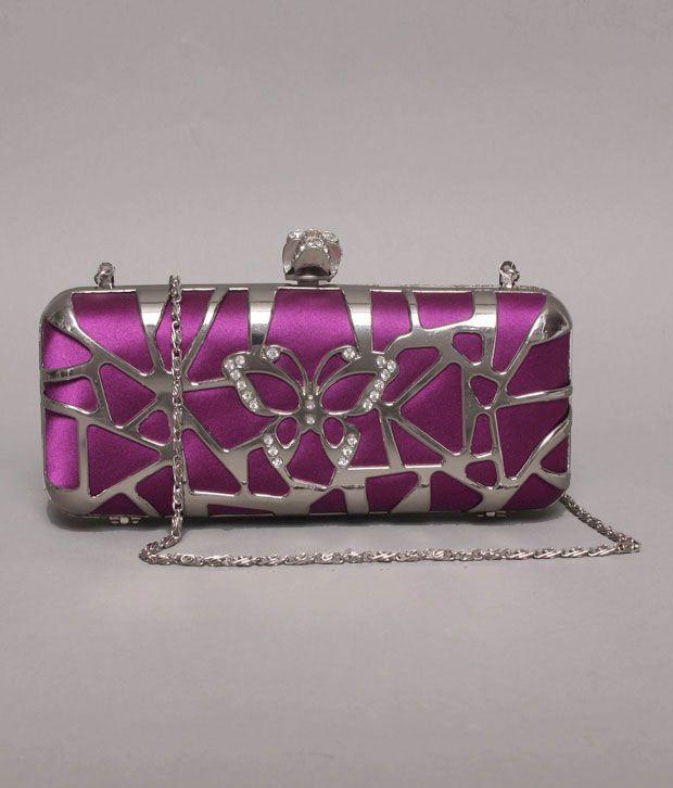 Bolso Dark Purple & Silver Butterfly Cut Design Clutch