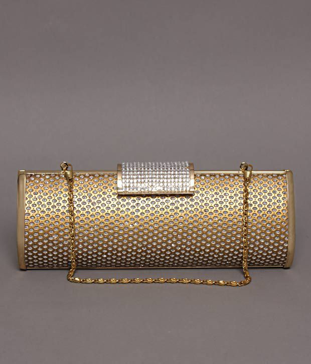 Bolso Golden Crystal Studded Clutch