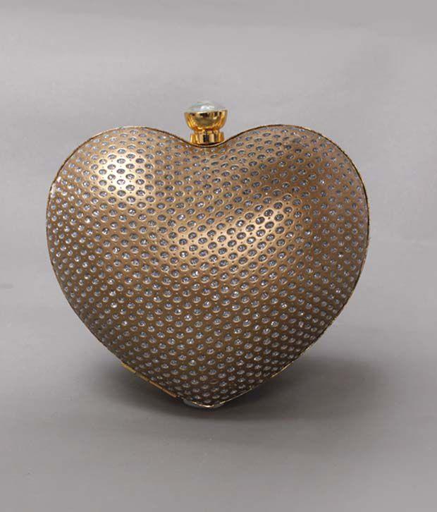Bolso Golden Crystal Heart Clutch