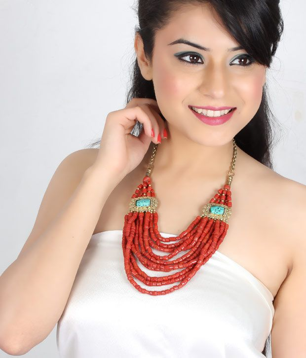 Art Mannia's Coral Multi String  Necklace