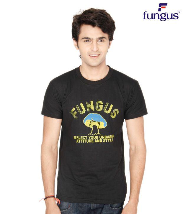 Fungus Black Calligraphic  Cotton T-Shirt