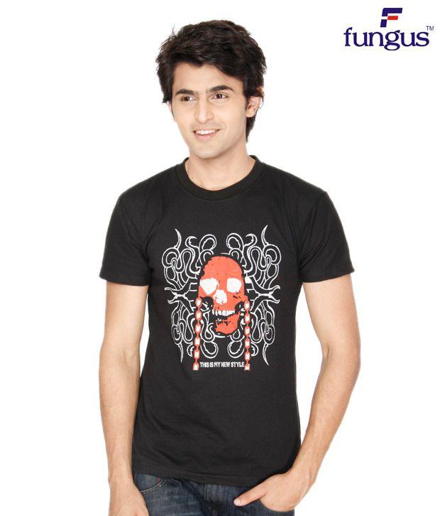 Fungus Black Abstract  Cotton T-Shirt