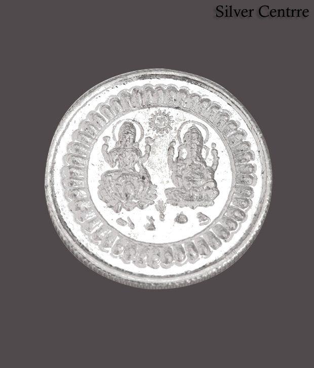 Silver Centrre Om Lakshmi Ganesha Silver Coin - SC 105