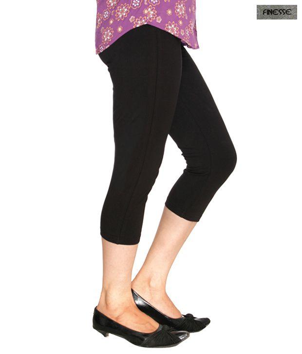 Finesse Black Cotton Lycra Tights With Back Pocket