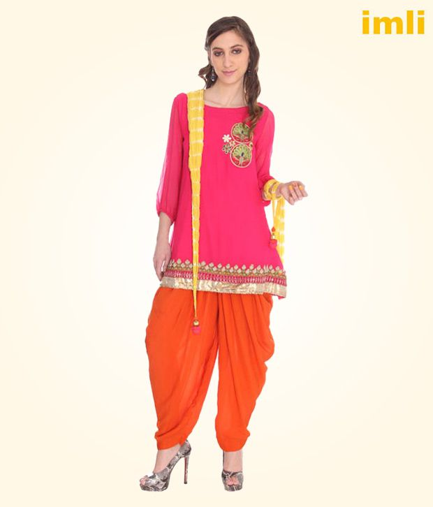 731d2eab0b Imli Fuchsia Pink & Orange Patiala Salwar Suit - Buy Imli Fuchsia Pink &  Orange Patiala Salwar Suit Online at Best Prices in India on Snapdeal