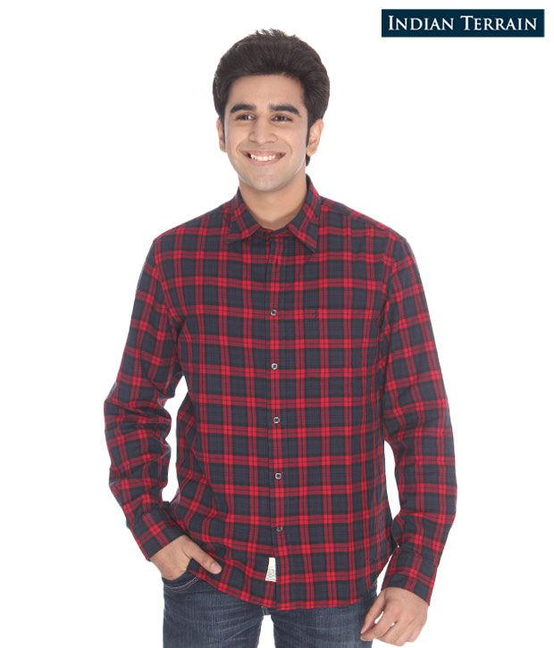 Indian Terrain Red Checkered Shirt