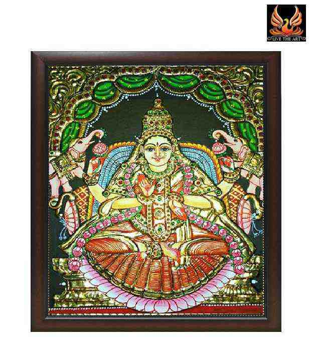 Live The Art Lucky Tanjore Painting Of Goddess Lakshmi