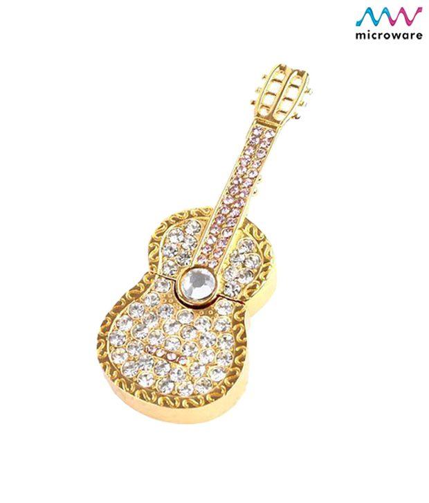 Microware Guitar Shape Golden Jewellery Designer Pen Drive 4 GB (Golden)