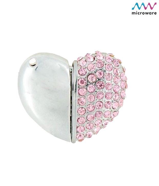 Microware Heart Shape Pink Jewellery Designer Pen Drive 4 GB (Silver)