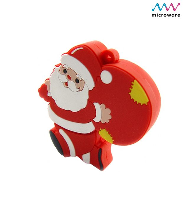 Microware Santa Claus With Gift Shape 4-GB (Red)