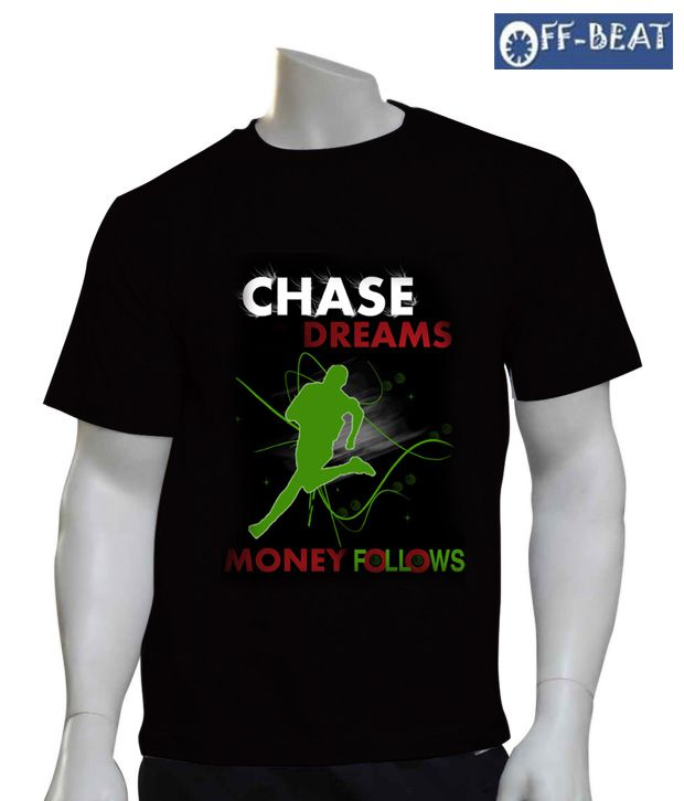 Off-Beat Chase Black Cotton T-Shirt