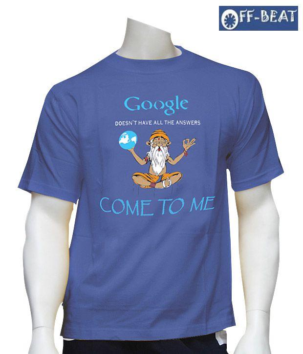 Off-Beat Witty Azure Cotton T-Shirt