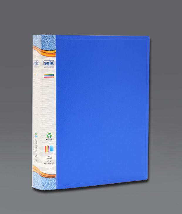 Solo Ring Binder 2 'D' Ring Clip Blue Folder (RB 402)