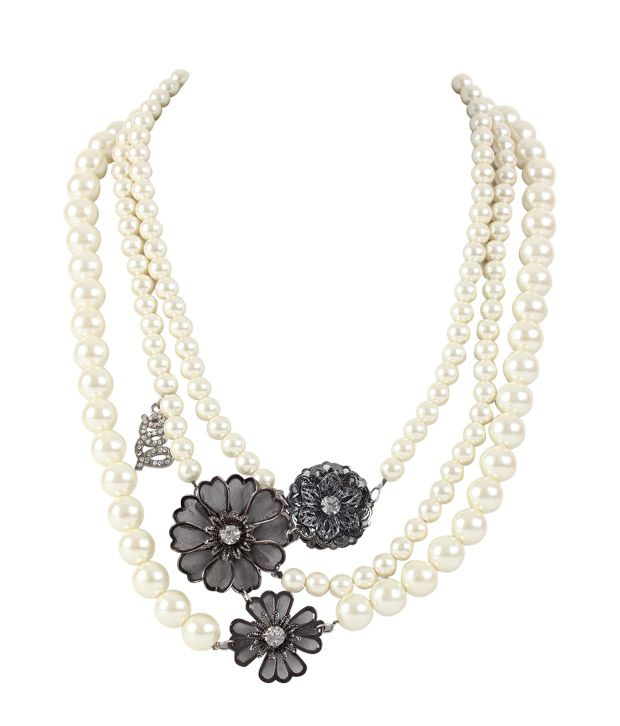 Embellish Royal Floral Pearl Necklace