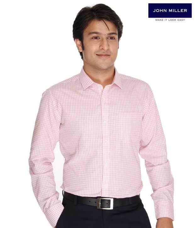 John Miller Checkered Pink Shirt