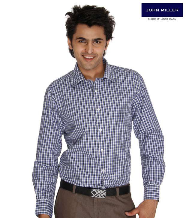 John Miller Checkered Blue Shirt