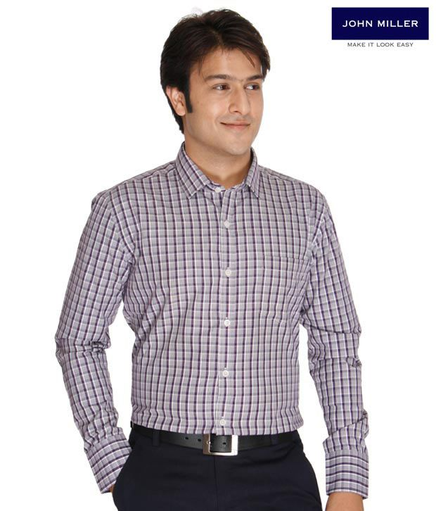 John Miller Purple Checks Shirt