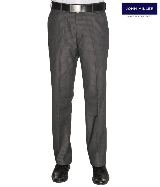 John Miller Striped Grey Trousers