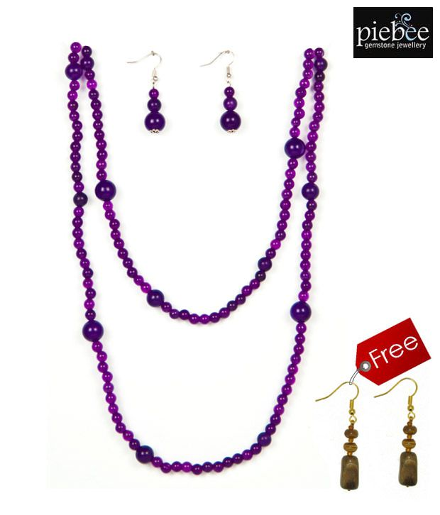 Piebee Purple Jade Necklace Set With Free Earrings