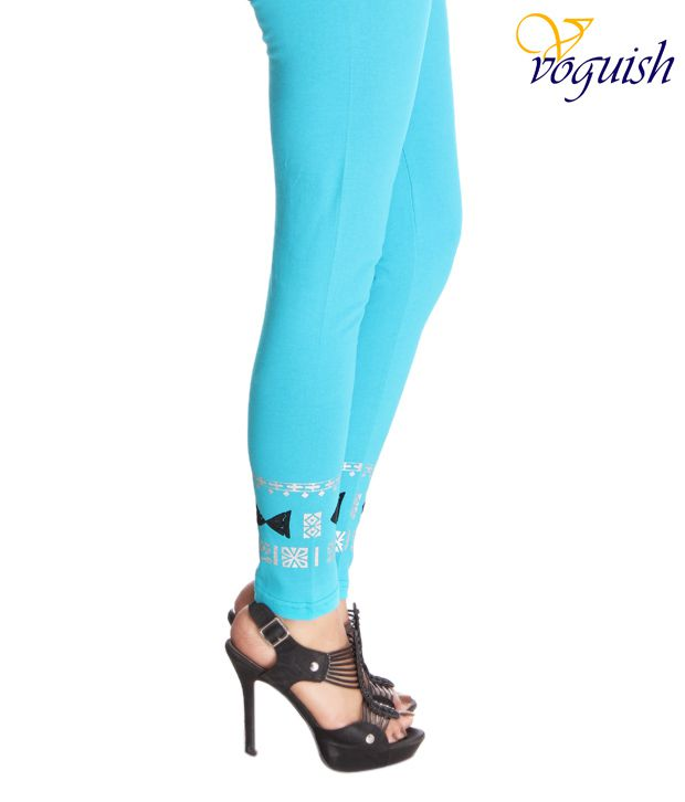 Vvoguish Turquoise Cotton Designer Leggings