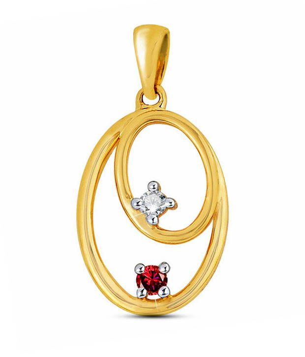 Sanskruti Gold Finish Diamond & Ruby Pendant