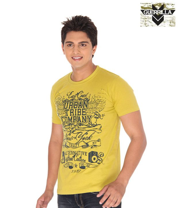 Guerrilla Stylish Light Yellow T- Shirt
