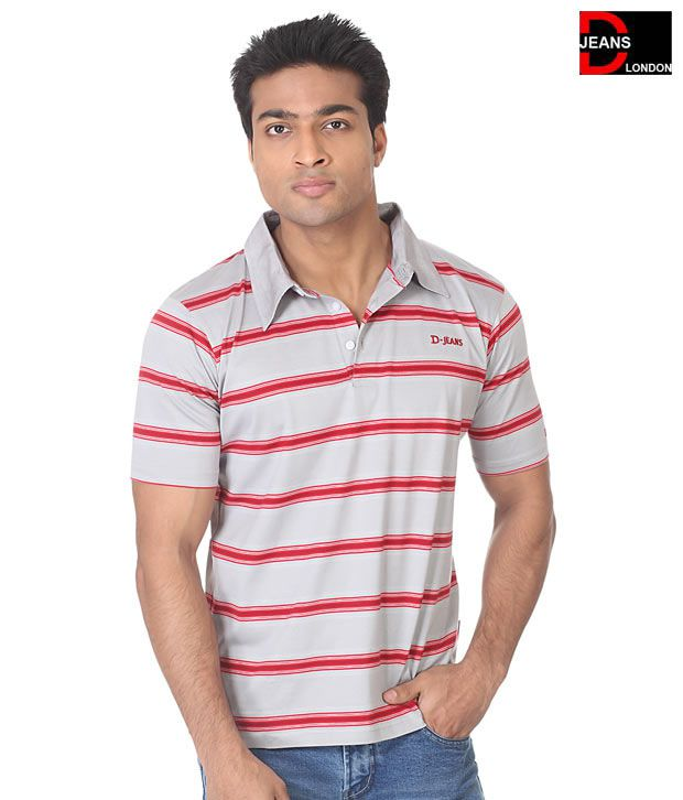 D-Jeans Light Grey-Red Stripes T-Shirt