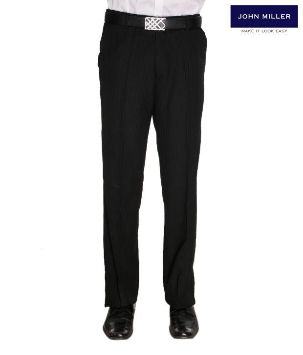 John Miller Striped Black Trousers