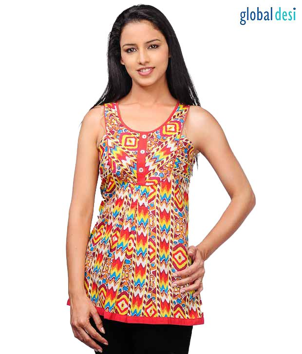 Global Desi Red Sleeveless Top