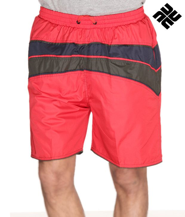 NU9 Red Casual Shorts