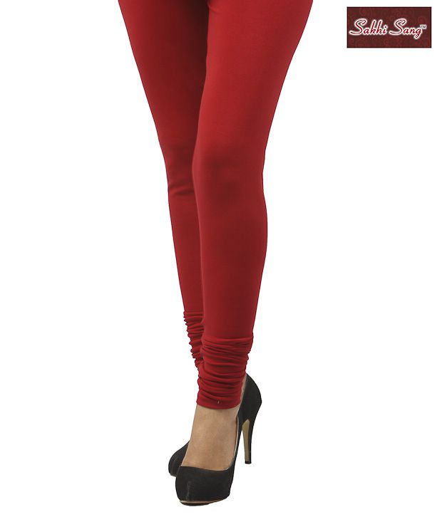Sakhi Sang Deep Red Cotton Lycra Leggings
