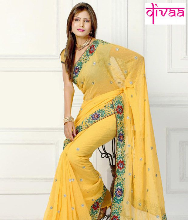 Diva Fashion Yellow Faux Georgette Saree Buy Diva Fashion Yellow Faux Georgette Saree Online