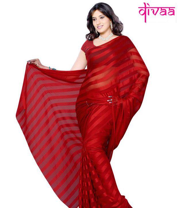 Diva Fashion Red Faux Georgette Saree