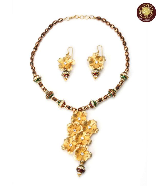 Aarya Ethnic 24 kt Gold Foil Necklace Set