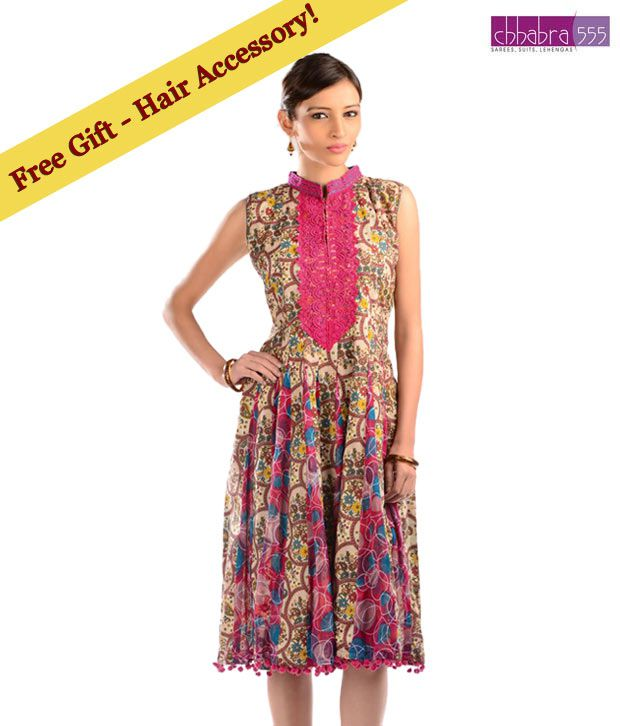 Chhabra 555 Beige-Fuchsia Cotton Printed Kurti with free hair accessory.