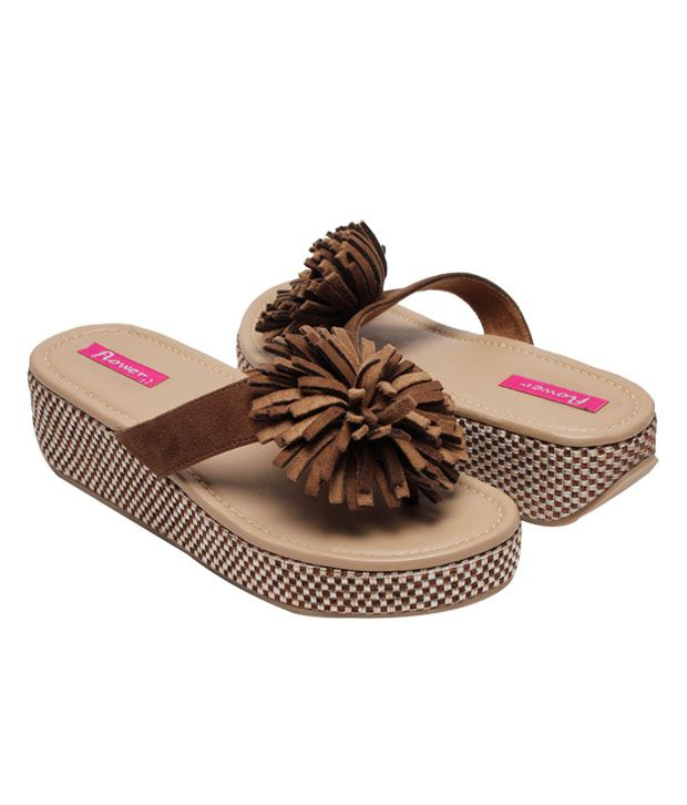 692bc1f22999 Flower Funky Brown Platform Slippers Price in India- Buy Flower ...