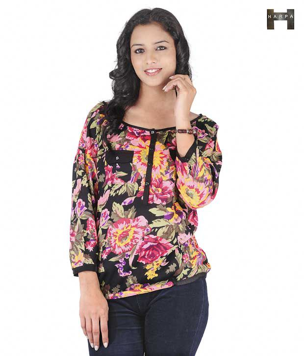 Harpa Pink-Black Floral Top