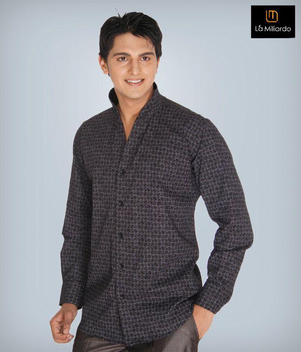 La Miliardo Black Cotton Blend Shirt
