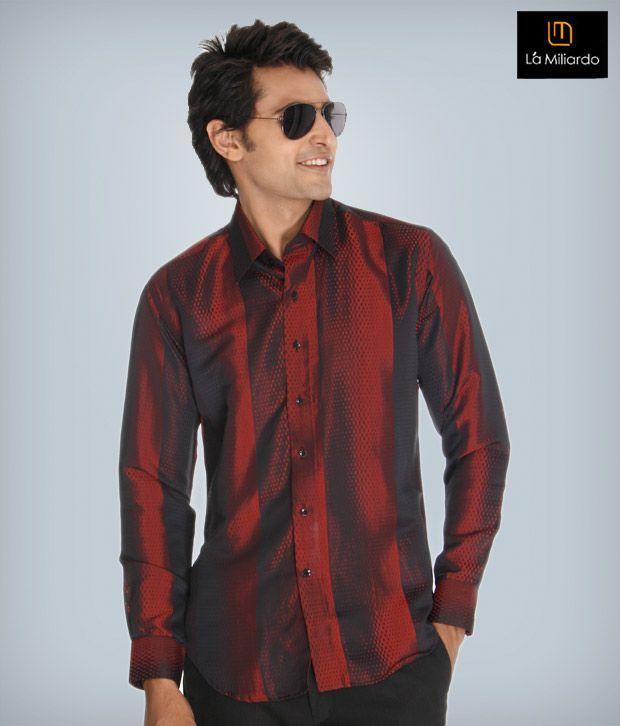 La Miliardo Maroon Cotton Blend Shirt
