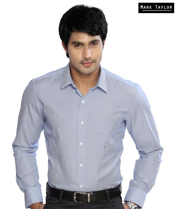 Mark Taylor Blue White Striped Shirt