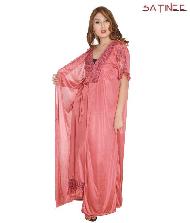 Satinee Stylish Peach Nighty With Robe