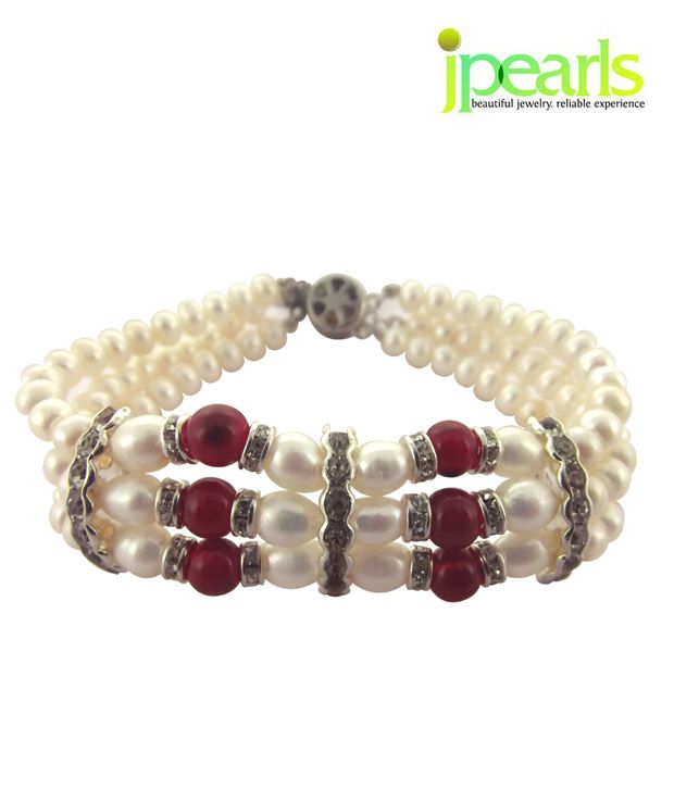 Sri Jagdamba Pearls 3 String Red & White Pearl Bracelet