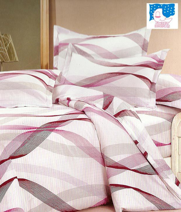 Sweet Dreams White Printed Double Bed Sheet